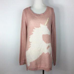 LC Lauren Conrad Sweaters - Lauren Conrad Sparkle Unicorn Tunic Sweater Size M